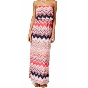 Trixxi Juniors' Strapless Printed Maxi Dress, S